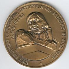 ALECU RUSSO - Universitatea din BALTI - medalie 7 cm DEOSEBITA - SUPERBA & RARA - Medalii Romania