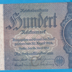 (1) BANCNOTA GERMANIA - 100 MARK (REICHSMARK) 1935 (24 IUNIE), SVASTICA PE CENTRU - bancnota europa