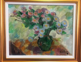 Elena Uta Chelaru - Tufanele , U/P 40 x 50 cm , datat 1978, Flori, Ulei, Altul