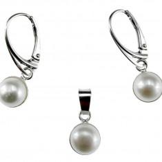 Set argint cu perle naturale albe 8 MM - Set bijuterii argint
