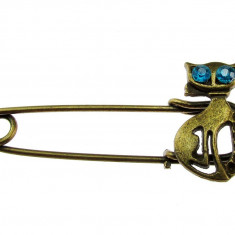 Brosa bronz antic ac de siguranta cu pisica