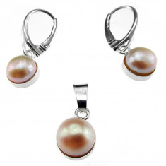 Set argint cu perle naturale oranj 8 MM - Set bijuterii argint