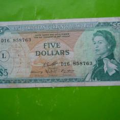 HOPCT CARAIBE 5 DOLLARS 1965 / CARAIBELE DE EST - RARA - bancnota america