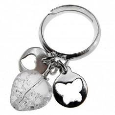 Inel argint reglabil cu charmuri si inimioara cristal de stanca