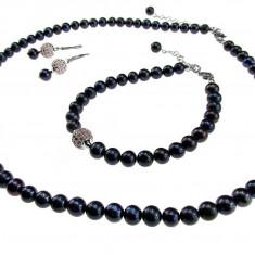 Set perle de cultura negre cu charm cubic zirconia roz - Set bijuterii handmade si fashion