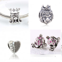 Set 4 charm-uri talismane pentru bratara Pandora - inima printesa rege caleasca - Bratara argint pandora, Femei