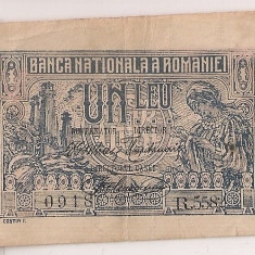ROMANIA 1 LEU 1920 F DESCENTRATA
