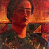 Mimi Saraga Maxy - Portret , ulei pe pânză de sac, Portrete, Altul