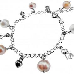 Bratara argint cu charmuri si perle de cultura