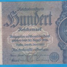 (2) BANCNOTA GERMANIA - 100 MARK (REICHSMARK) 1935 (24 IUNIE), SVASTICA - bancnota europa
