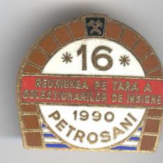 1990 REUNIUNEA pe TARA a COLECTIONARILOR  de INSIGNE ROMANIA, insigna emaiL