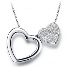 Colier Argint Double Heart