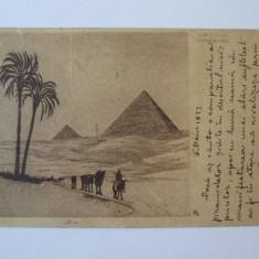 Carte postala Egipt-Piramidele, circulata la Bălți in 1922, Printata