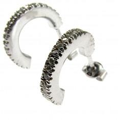 Cercei argint semicerc cu zirconia