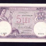 ROMANIA - 5  LEI -  1929  . Aproape necirculata . Cel mai bun pret !! AUNC