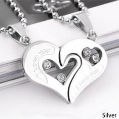 Pandantiv  Lantisor cuplu indragostiti mesaje dragoste i love you inima