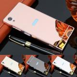 Husa / Bumper aluminiu + spate acril oglinda pentru Sony Xperia XA1 Plus