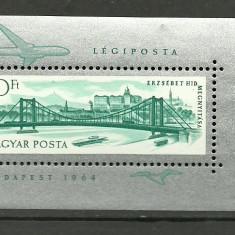 Ungaria 1964- Podul Erzsebet, colita neuzata