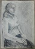 Femeie sezand pe scaun// carbune pe hartie
