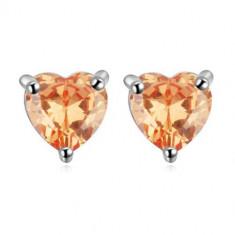 Cercei Amber Heart - Cercei placati cu aur