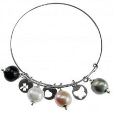 Bratara argint cerc cu charmuri si perle