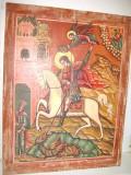Icoana mare veche Sf. Gheorghe-Purtatorul de Biruinta lemn masiv., Scene gen, Ulei, Realism