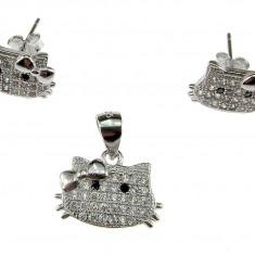 Set argint Hello Kitty cu zirconia - Set bijuterii argint