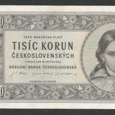 CEHOSLOVACIA 1000 1.000 COROANE KORUN 1945 [1] P-74, VF+ / XF - bancnota europa