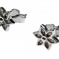 Cercei argint rodiat floricica