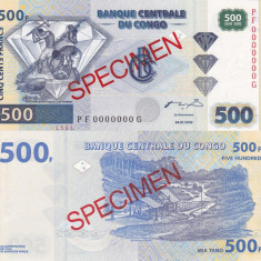 SPECIMEN CONGO 500 francs 2002 UNC!!! - bancnota africa