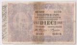 ITALIA BIGLIETTO DI STATO 10 LIRE SIGN Giu. Dell'Ara and Porena. 29.7.1918 U