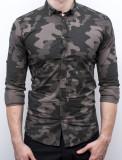 Camasa Army - camasa slim fit camasa barbat camasa cambrata, S, XL, Maneca lunga