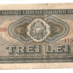 ROMANIA RSR 3 LEI 1966 VF - Bancnota romaneasca