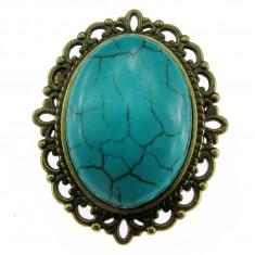 Brosa ovala bronz antic cu turcoaz