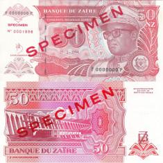 SPECIMEN ZAIR 50 nouveaux zaires 1994 UNC!!! - bancnota africa