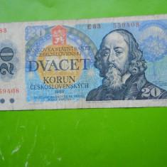HOPCT CEHOSLOVACIA 20 KORUN 1988 - bancnota europa