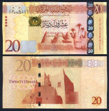 !!! LIBIA  -  20  DINARI  (2013) -  P 79  - UNC / SERIE  VERTICALA