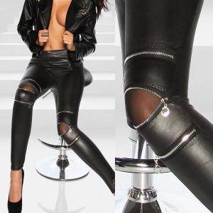 Colanti piele latex cu fermoar pantaloni luciosi look piele skinny model 2018
