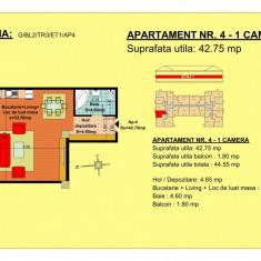 Garsoniera Brasov, zona Tractorul - Garsoniera de vanzare, 43 mp, An constructie: 2018, Etajul 1