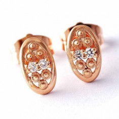 Cercei ovali piatra zirconiu placati filati aur 14k gold filled - Cercei placati cu aur pandora
