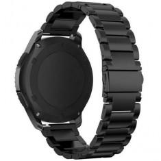 Curea neagră ceas Samsung Gear S3, otel inoxidabil 22 mm - Curea ceas din metal