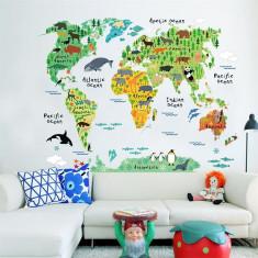 Sticker perete camera copii harta lumii sticker montessori animale continente