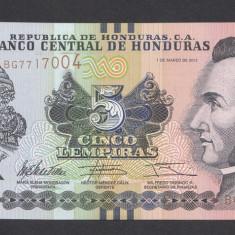 Honduras 5 lempiras 2012 UNC - bancnota america