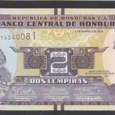 Honduras 2 lempiras 2012 UNC - bancnota america