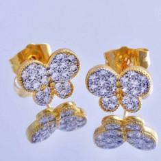 Cercei model PANDORA FLUTURE placati filati aur 14k gold filled - Cercei placati cu aur