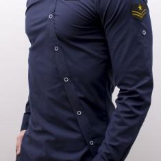 Camasa asimetrica barbat -camasa bleumarin camasa barbat camasa slim camasa army, XXL, Maneca lunga