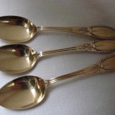 Frumoase trei lingurite aurite si frumos decorate perioada Art Deco (60) - Argint, Tacamuri