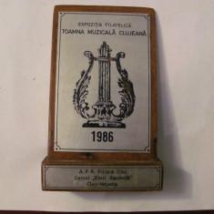 """MMM - Placheta Romania """"Expozitia Filatelica Toamna Muzicala Clujeana 1986"""""""