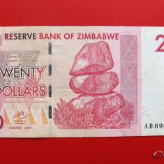 ZIMBABWE - 20 Dollars 2007 - bancnota africa