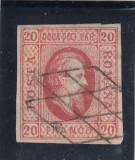ROMANIA  1865 LP 17 A. I. CUZA  VALOAREA  20  PARALE ROSU STAMPILA GRATAR, Nestampilat